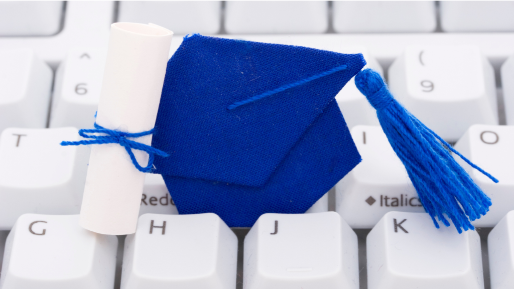 Easiest Online Certificate Programs - featured image of graduation cap and keyboard